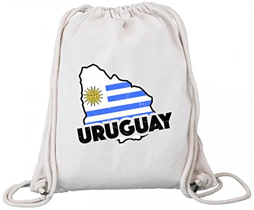 ShirtStreet Wappen Fußball WM Fanfest Gruppen Premium Bio Baumwoll Turnbeutel Rucksack Stanley Stella Land Uruguay Natural