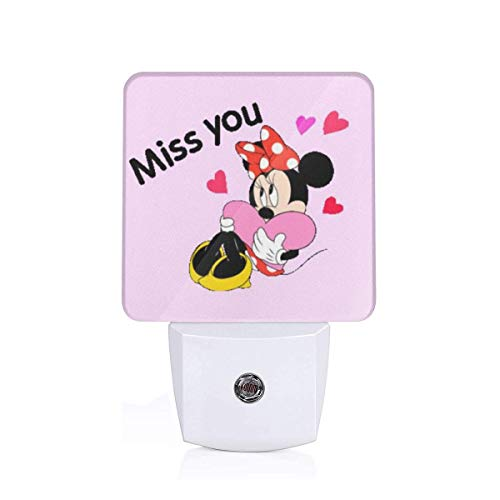(MPJTJGWZ LED Night Light with Auto ON/Off and Dusk to Dawn Sensor, Miss You Minnie Mouse for Bedroom Bathroom Dark Room)