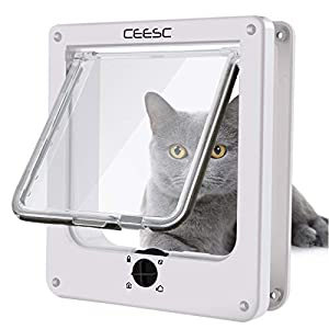CEESC Cat Doors, Magnetic Pet Door with 4 - Way Rotary Lock for Cats, Kitties and Kittens, Upgraded Version 20