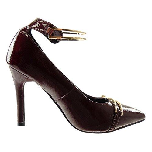 Angkorly Damen Schuhe Pumpe - Dekollete - Stiletto - Patent - genarbtem - Golden Stiletto High Heel 10 cm Burgunderrot