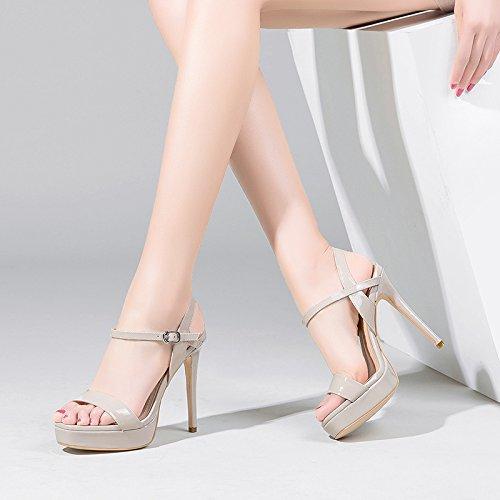 Sandali Vivioo Sandali Con Tacco Alto Sandali Con Tacco Alto Sandali Shoessummer Multa Con Tacco Alto In Vernice Impermeabile Piattaforma Parola Fibbia Scarpe Beige