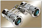 LaScala Optics AIDA Binocular 3X25 Central Focus Opera Glasses, Platinum Body, Silver Rings -