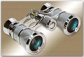 LaScala Optics AIDA Binocular 3X25 Central Focus Opera Glasses, Platinum Body, Silver Rings - by LaScala Optics