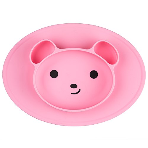 Bear High Chair (LumiePlates Babies Placemat Feeding Tray Silicone Suction Bear Plate For Toddlers, Baby, Kids, Children, Kitchen Highchair Dining Table (pink))