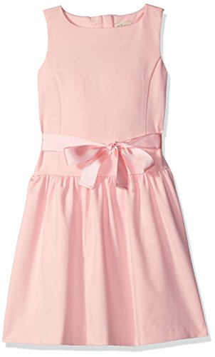 Scout + Ro Big Girls' Solid Ponte Dress, Crystal Rose, (Girls Drop Waist Dress)