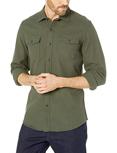 - Amazon Essentials Men's Slim-Fit Long-Sleeve Solid Flannel Shirt, Olive Heather, Large