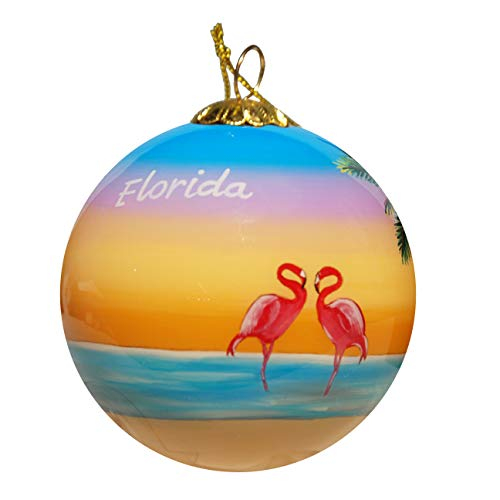 Art Studio Company Hand Painted Glass Christmas Ornament - Palm Trees with Flamingos Florida]()