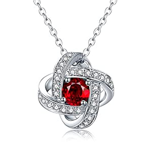 HALONA Pendant Necklaces for Women, Swarovski Crystal Inlayed Platinum Plated Women Necklaces, 18