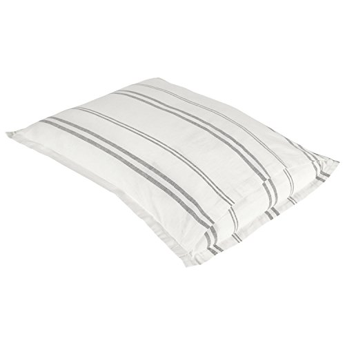 Rivet Classic Maxwell Garment-Washed Stripe Duvet Cover Set, King, White with Gray Stripe by Rivet (Image #7)