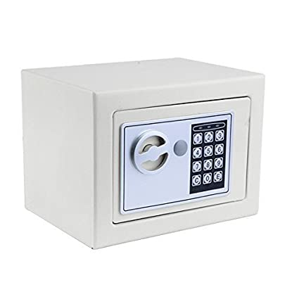 Hosmat Electronic Digital Security Safe Box, Fireproof Wall-Anchoring Safe Deposit Box for Home Office Hotel Business Jewelry Money (White)