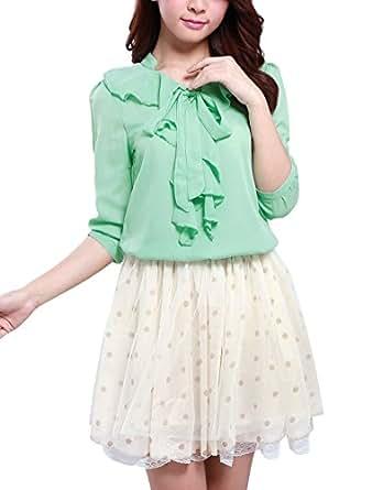 Allegra K Ladies 3/4 Sleeves Flounced Standing Collar Blouse Green XS