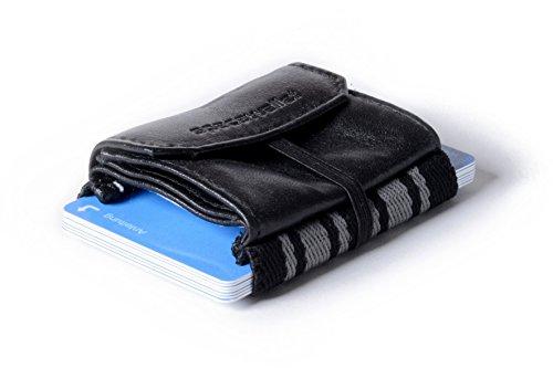 Kleiner dünner Geldbeutel Herren, echtes Leder - Space Wallet 2.0 Pull mit Kleingeldfach - kleine Geldbörse schwarz und viele Farben, Mini-Portemonnaie Herren und Damen, Brieftasche - Made in Germany