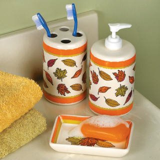 amazon com otc fall leaves bathroom accessories set soap dish rh amazon com fall bathroom towel sets fall bathroom towel sets