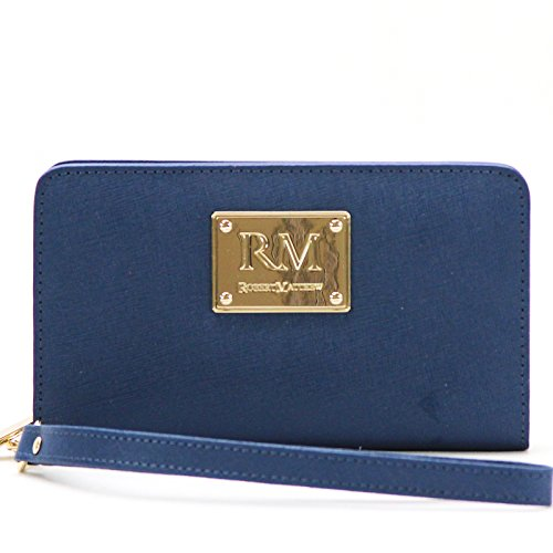 Amazon Black Friday Deals 2018 - Robert Matthew Aria 24K Gold Leather Wallet Wristlet, Phone Wallets for Women, Best Wallet for iPhone X, 7, 8, Samsung Galaxy S8, S9, Android, Blue Sapphire, msrp $148