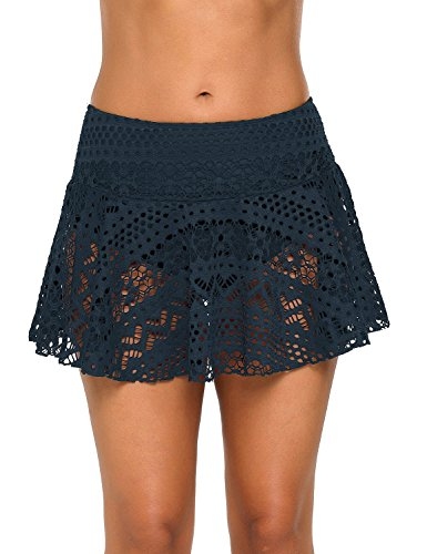 e76499a06b583 GRAPENT Women's Crochet Lace Skirted Bikini Bottom with Brief Solid Navy  Short Swim Skirt Swimsuit Size