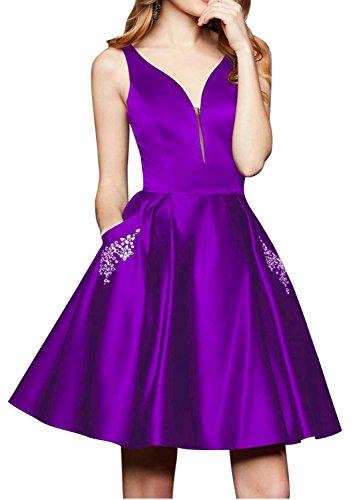 Vestiti Viola Brevi Da Sera Senza Tasche Brl Maniche Commerciale Raso Con Prom V Abiti Centro Le Festa Collo Perline Celebrità Di xCRBq80w