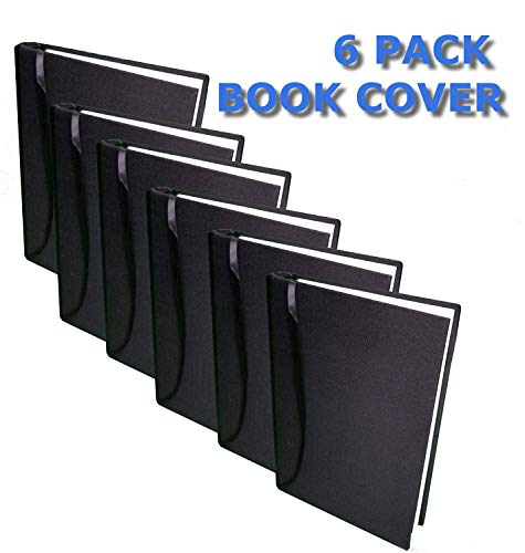Fabric (Soft) Book Cover with Sewn in Book Marker (Black) 6 Pack Stretchable Washable Reusable Durable for Hard Book Cover