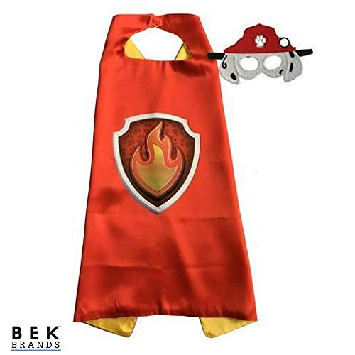 Kids Dress Up Cape and Mask Costume for Superhero Party Favors, Halloween, and More (Marshall with Emblem) -