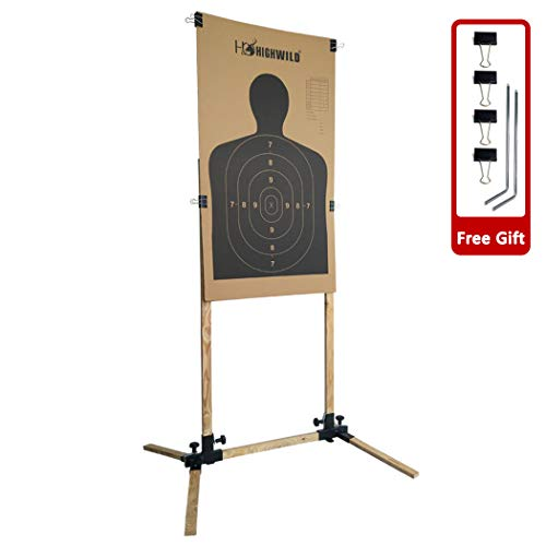 Highwild Adjustable Target Stand Base for Paper Shooting Targets Cardboard Silhouette - USPSA/IPSC - IDPA Practice (1 Set)