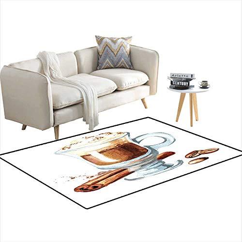 Room Home Bedroom Carpet Floor Mat Traditional Irish Cream Coffee wi Cinnamon ancoffee Beans Watercolor Handrawn Illustration isolateon White Background 55
