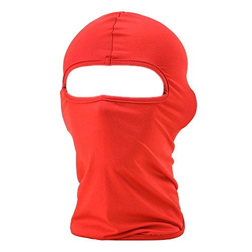 FENTI Multifunction Lycra Balaclava - Motorcycle Ski Cycling Full Face Mask , Red , One Size