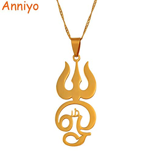 LTH12 Pendant Necklaces - Tamil om Sign Pendant Necklaces for Women Girls Gold Color Stainless Steel Tamil OM Symbol Jewelry Indian #051621 1 PCs