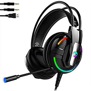 a4aa6268005 Flickering A18 Gaming Headset Gaming Headphone with Noise Cancelling Mic,  Headphone Luminous Enhanced Stereo Sound, for Xbox One, PS4, Nintendo  Switch, PC ...
