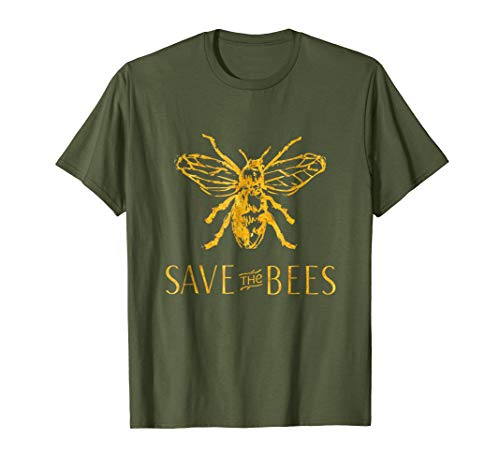 - Mens Save the Bees T-Shirt Large Olive