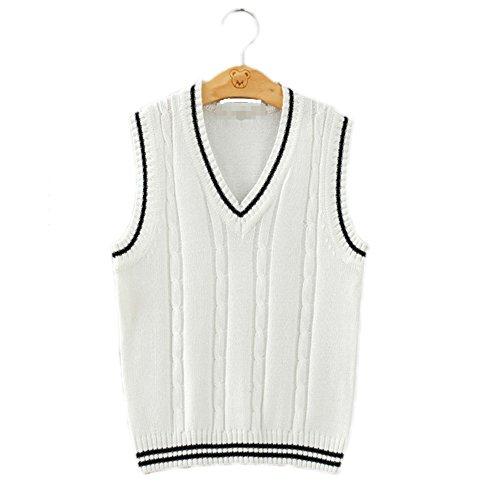 Bingooutlet Men Women Knitted Cotton V-Neck Vest JK Uniform Pullover Sleeveless Sweater School Cardigan (White Stripe, XXL)