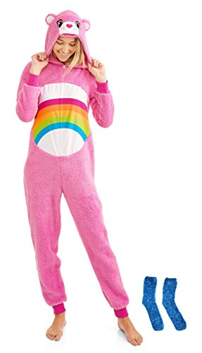Care Bear Pink Women's Sleepwear Union Suit Christmas Gift Set With Matching Minky Socks (X-Large 16-18)