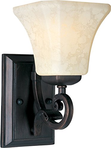 Maxim 21063FLRB Oak Harbor 1-Light Wall Sconce Bath Vanity, Rustic Burnished Finish, Frost Lichen Glass, MB Incandescent Incandescent Bulb , 10W Max., Dry Safety Rating, 3000K Color Temp, Shade Material, 650 Rated Lumens