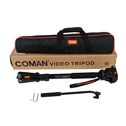 COMAN KX3232 Lightweight Aluminum Monopod Kit, with Q5 Fluid Head and Removable feet, 73 Inch Max Load 13.2 LB for DSLR and Video Cameras