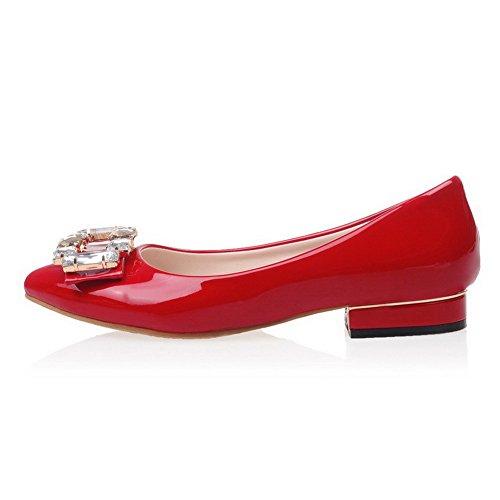 AgooLar Damen Spitz Zehe Niedriger Absatz Ziehen auf Rein Pumps Schuhe Rot