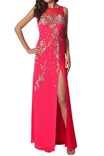 Toscana novia dibujos con ranura larga de la gasa de estrellas de tul vestidos de noche vestidos de fiesta de la bola a Prom fucsia