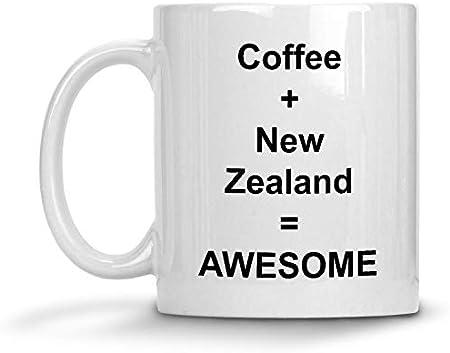 N\A Café + Nueva Zelanda = Taza de Conejo Impresionante - Taza de café con Leche de 11 oz