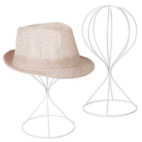 Decorative Holder (MyGift Modern Metal Hat Stands, Tabletop Decorative Wig Holders, Set of 2, White)