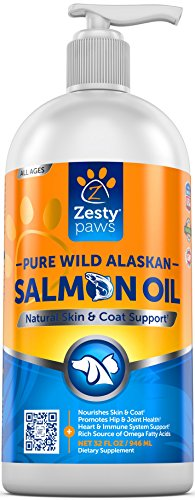 Pure Wild Alaskan Salmon Oil for Dogs & Cats - Supports Joint Function, Immune & Heart Health - Omega 3 Liquid Food Supplement for Pets - All Natural EPA + DHA Fatty Acids for Skin & Coat - 32 FL OZ - Alaskan Salmon Treats