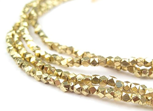Cornerless Cube Beads - Full Strand of Faceted Ethnic Metal Spacers - The Bead Chest (2mm, Gold) ()