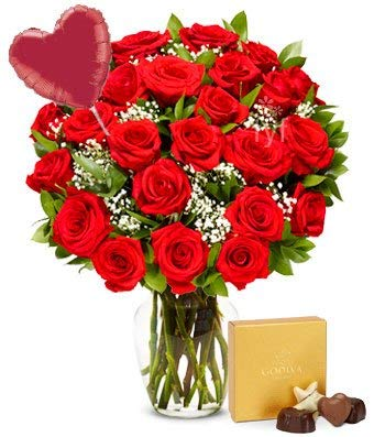 Flowers - Two Dozen Red Roses + Heart Balloon + Chocolate (Free Vase Included) ()