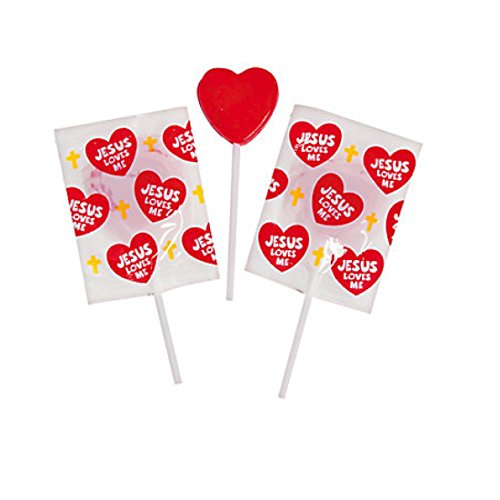 Jesus Loves Me Red Heart Lollipops - 57 Pieces (Heart Love Lollipop)