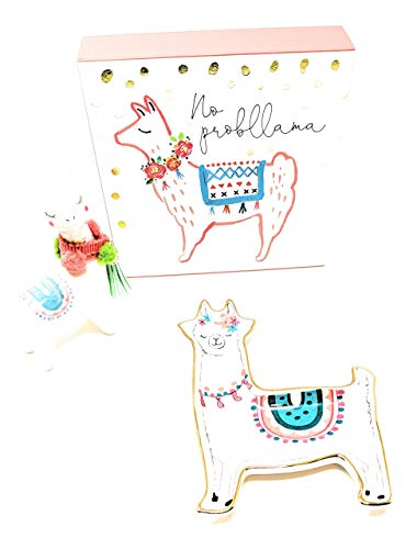 Day to Night Fun Llama Alpaca Gift Set Includes (1) Small Trinket Dish + (2) Ceramic Mini Figurine + (3) Box Plaque