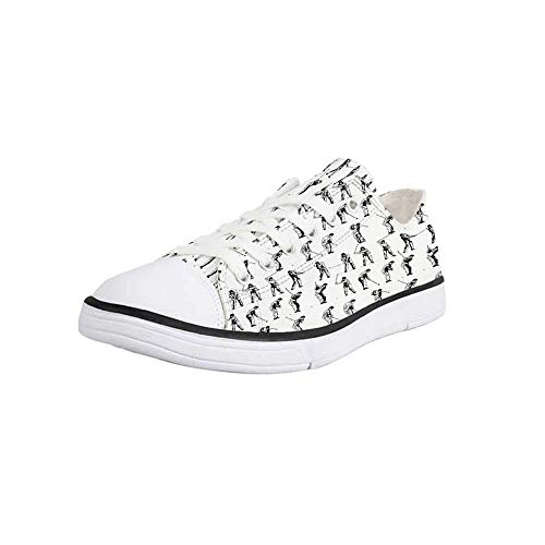 Canvas Sneaker Low Top Shoes,Golf,Golf Swing Shown in Fourteen Stages Sports Hobby Themed Sketch Art Storyboard Print Decorative Women 9/Man - Stage Truck 9 Low