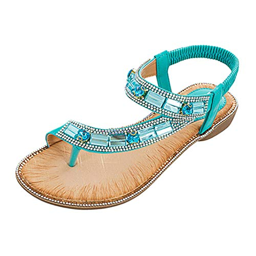 Women's Ladies Bohemian Toepost Crystal Elastic Band Beach Sandals Roman Shoes Gladiator Sandals Green