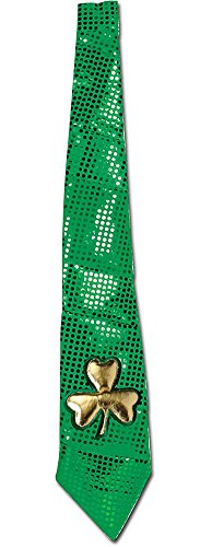 Jumbo 3ft Green Sequin Saint Patrick's Day Neck Tie w/ Gold Shamrock