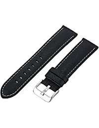 Hadley-Roma Men's MSM906RA-220 22mm Black Genuine Leather Watch Strap