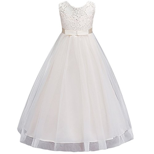 JiaDuo Wedding Flower Girl Dress Bridesmaid Lace Party Maxi Gown Beige 140