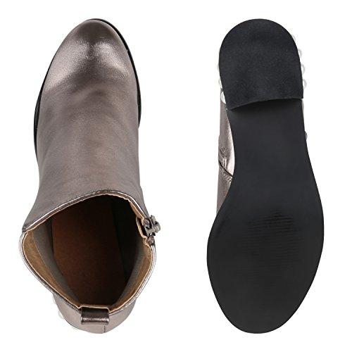 Stiefelparadies Damen Stiefeletten Glitzer Chelsea Boots Leder-Optik Blockabsatz Schuhe Knöchelhohe Stiefel Übergrößen Gr. 36-42 Flandell Grau Metallic Perlen