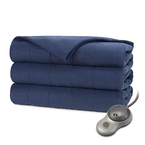 Sunbeam Heated Blanket | 10 Heat Settings, Quilted Fleece, Newport Blue, Twin