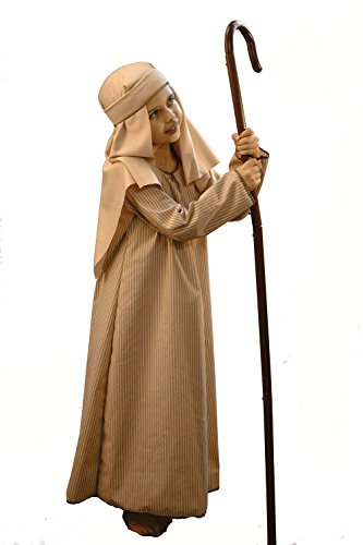 Nativity-Bible-Christmas- Camel Striped Shepherd/Joseph with Crook Child's Fancy Dress Costume – All Ages (Age 5-6)