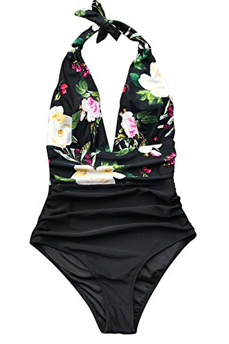 CUPSHE Women's Shirring Design High Waisted One Piece Swimsuit Lost Butterfly Print Large Black